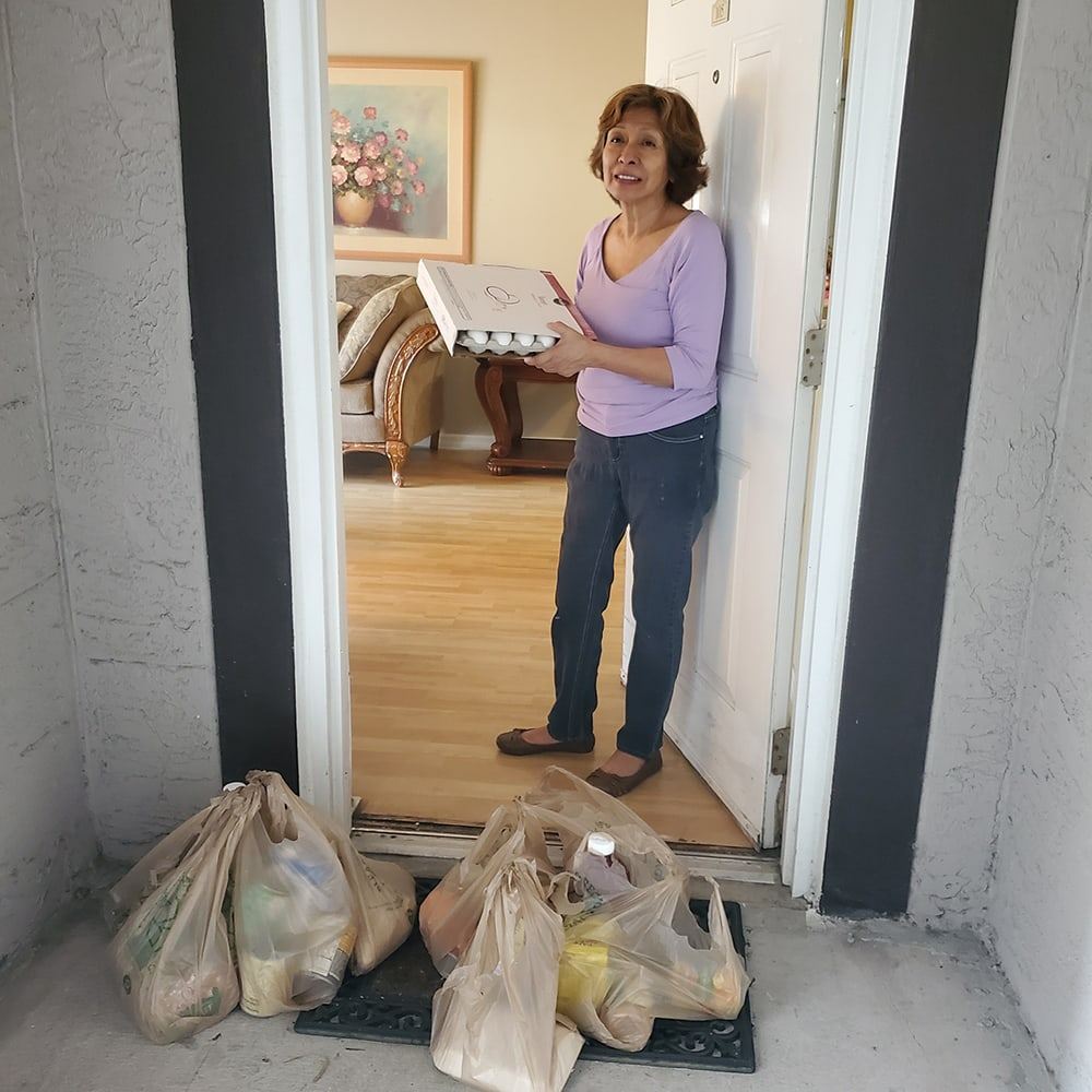 woman with donated grocery bags