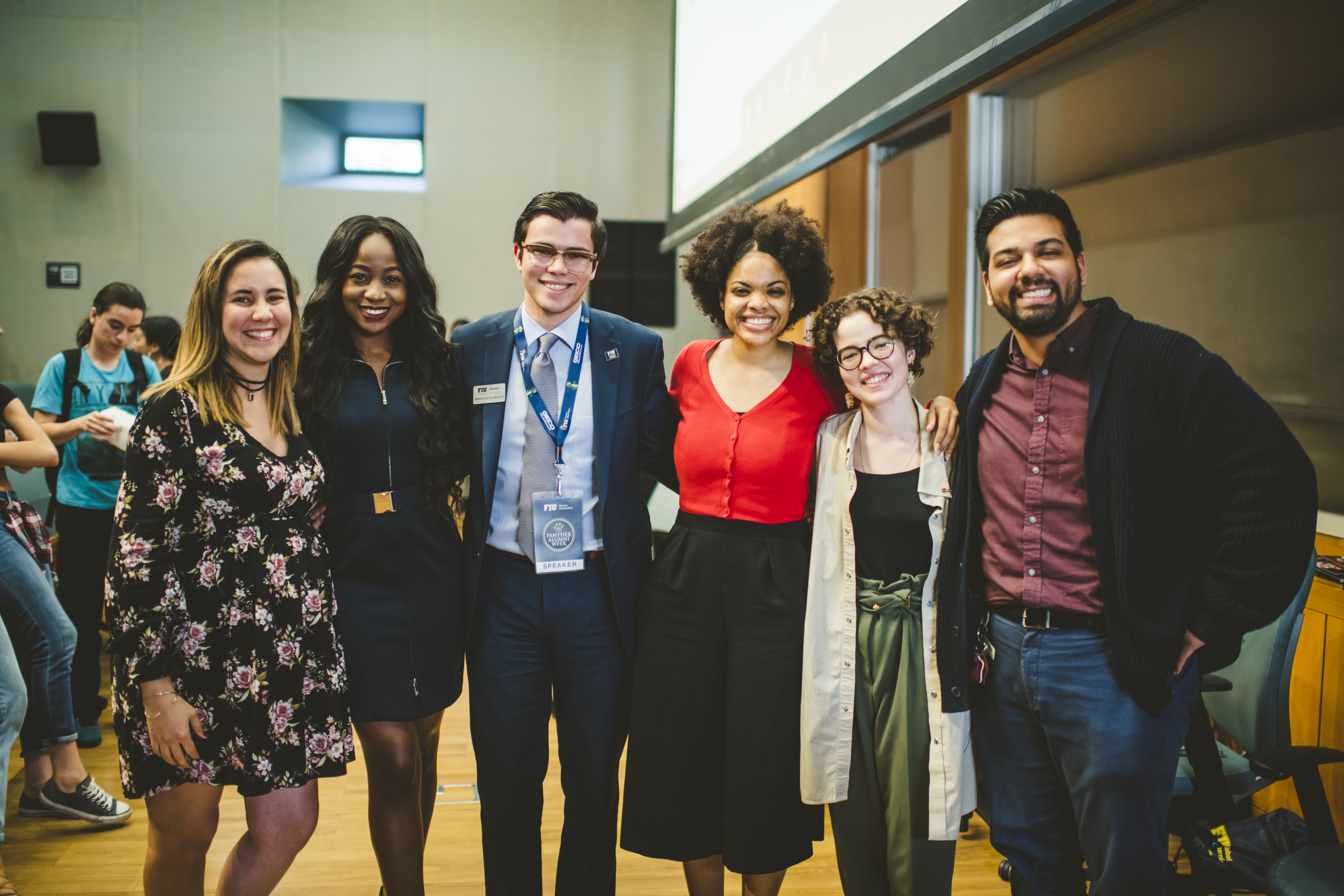 Pictured from left to right: Yeni Simon, Program Manager for Global Learning, Cindy Makita, Alberto Garcia Marrero, Yandra Mariano, Isabella Marie Garcia (all alumni panelists), and Enrique Rosell, Program Coordinator for The Honors College.